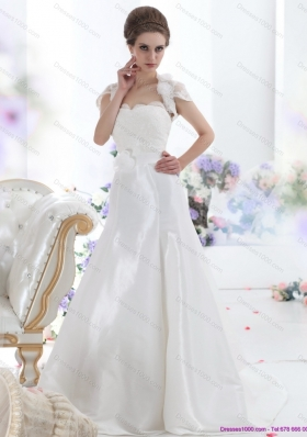 Elegant White Sweetheart Brush Train Wedding Dresses with Hand Made Flower and Ruffles