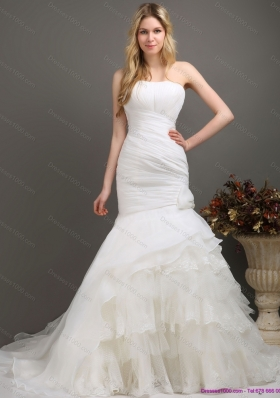 2015 Decent Strapless Mermaid Wedding Dress with Ruching and Ruffles