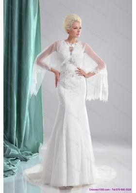 2015 Elegant Beading White Wedding Dresses with Brush Train