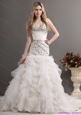 2015 Elegant Halter Top Wedding Dress with Beading and Ruffles