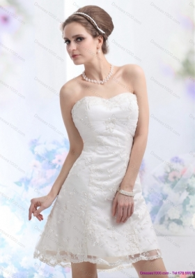 2015 Elegant Sweetheart Mini-length Wedding Dress with Lace