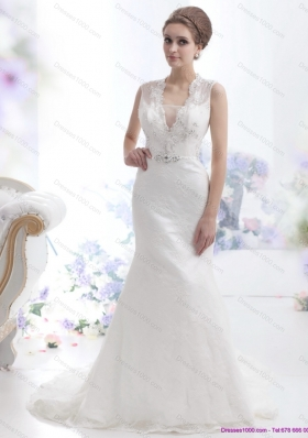 2015 Pretty Mermaid Beading Wedding Dress with Brush Train