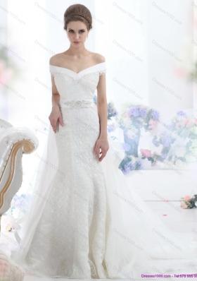 2015 The Super Hot Off the Shoulder Mermaid Beading Wedding Dress