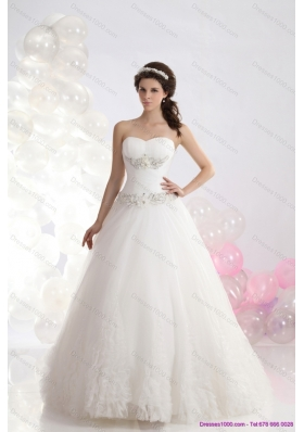 Elegant 2015 Sweetheart Wedding Dress with Brush Train