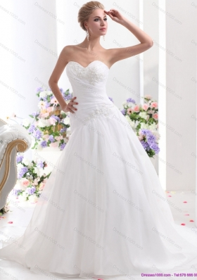 Elegant 2015 Sweetheart Wedding Dress with Ruching and Beading