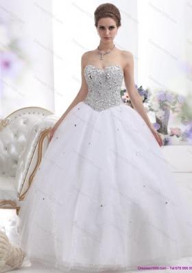 Elegant Sweetheart Floor Length White Wedding Dresses with Brush Train and Rhinestones
