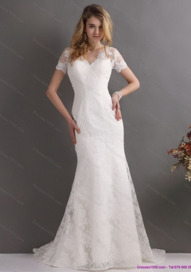Elegant V Neck Lace Wedding Dress with Short Sleeves