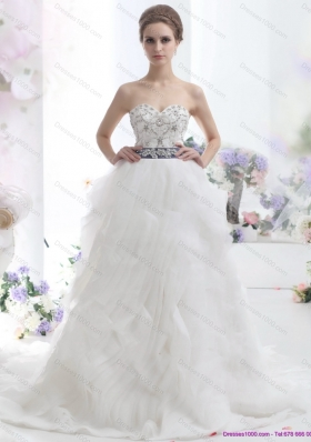 Elegant White Sweetheart Brush Train Wedding Dresses with Rhinestones and Sash