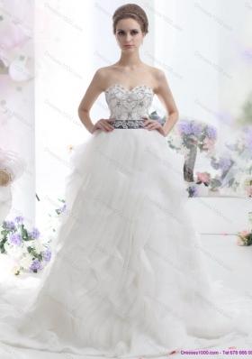 Elegant White Sweetheart Brush Train Wedding Dresses with Rhinestones and Sash