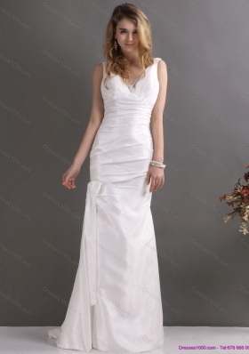 Elegant White V Neck Ruching Bridal Dresses with  Brush Train