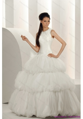 Elegant White Wedding Dresses with  Ruffled Layers and Sequins