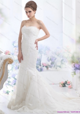 Fashionable Lace White Mermaid Wedding Dress with Brush Train for 2015