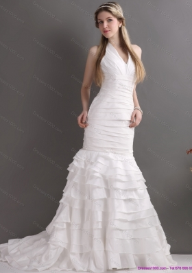 Unique White Halter Top Mermaid Wedding Dresses with Ruffled Layers and Ruching