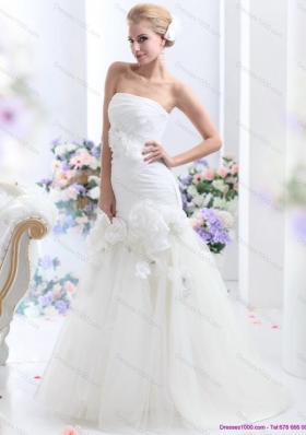 White BrushTrain Strapless Mermaid Wedding Dresses with Ruching and Hand Made Flowers