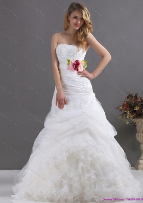 2015 A-Line Ruffles Strapless White Wedding Dresses with Hand Made Flower