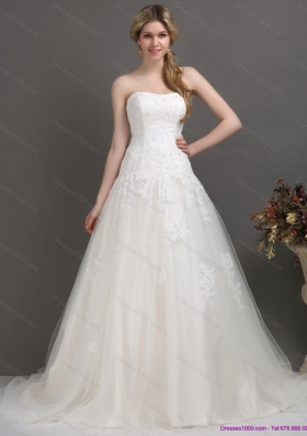 2015 A-Line  Strapless Brush Train Wedding Dress with Beading