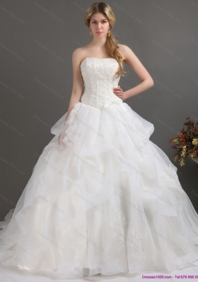 2015 A-Line  Strapless Lace Wedding Dress with Brush Train