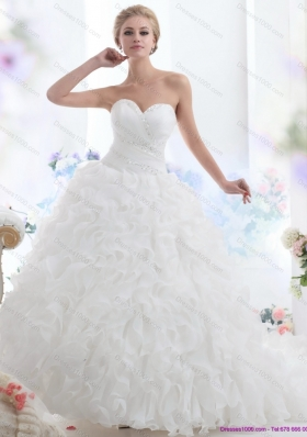 2015 A-Line Sweetheart Ruffles and Beading White Wedding Dresses with Brush Train