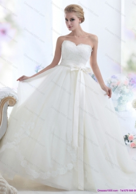 2015 A-Line  White Sweetheart Bridal Dresses with Waistband