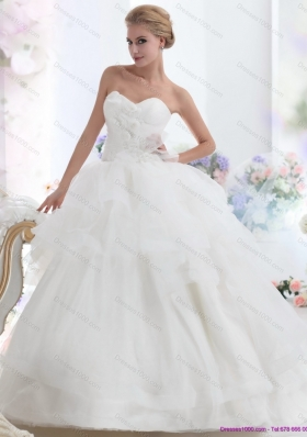 A-Line 2015 Sweetheart Wedding Dress with Hand Made Flowers