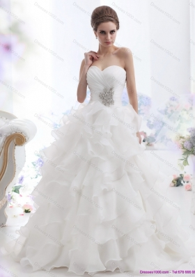 A-Line  Beading and Ruffled Layers Brush Train Wedding Dresses in White