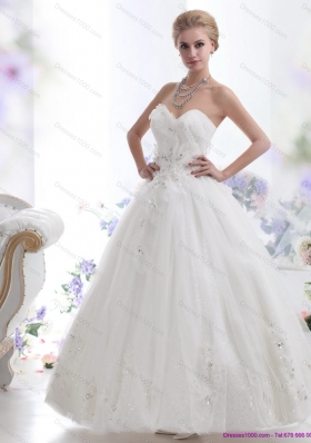 A-Line Beading Sweetheart White Wedding Dresses for 2015