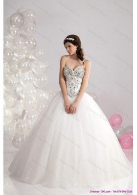 A-Line Ruffled White Sweetheart Wedding Dresses with Brush Train and Rhinestone