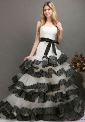 A-Line Sash and Lace Strapless 2015 Wedding Dresses in White and Black