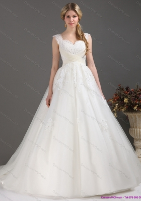 A-Line Sequines Lace Sweetheart White Wedding Dresses with Brush Train