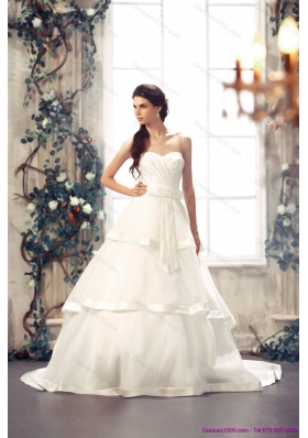 A-Line Sweetheart White Bridal Gowns with Chapel Train