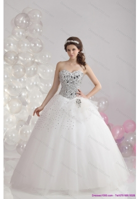 A-Line White Floor Length 2015 Unique Wedding Dresses with  Rhinestones
