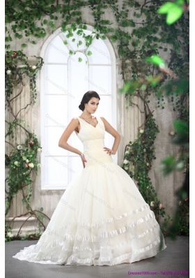 A-Line White Straps Ruffled Bridal Dresses with Brush Train