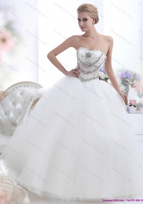 A-Line White Sweetheart 2015 Wedding Dresses with Rhinestones