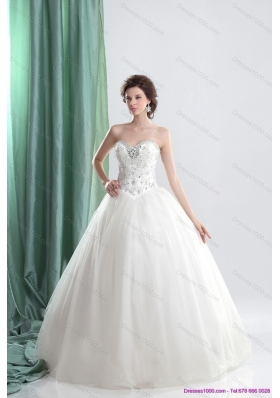 A-Line White Sweetheart Bridal Gowns with Ruffles and Beading