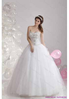 A-Line White Sweetheart Rhinestones Bridal Gowns with Brush Train