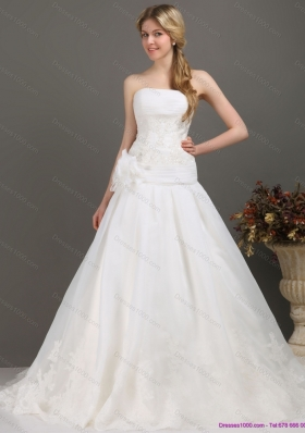 Ruched Beaded White Wedding Dresses with Brush Train and Hand Made Flower