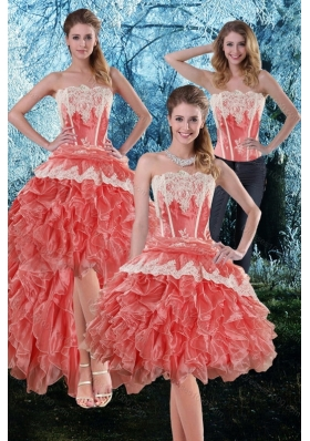 2015 Appliques and Ruffles Strapless Detachable Prom Skirts in Watermelon