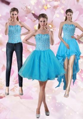 2015 Detachable Aqua Blue Strapless Short Prom Dresses with Beading