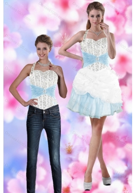 2015 Halter Detachable Prom Skirts with Beading and Pick Ups