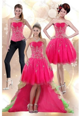 2015 High Low Appliques Strapless Detachable Prom Skirts