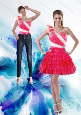 2015 One Shoulder Detachable Prom Skirts with Hand Made Flowers and Ruffled Layers