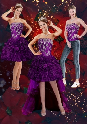 2015 Purple Strapless Detachable Prom Skirts with Embroidery and Ruffles