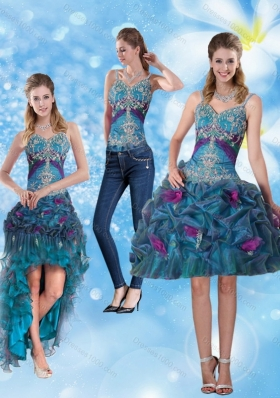2015 Spaghetti Straps Detachable Prom Skirts with Hand Made Flower and Embroidery