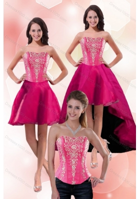 2015 Strapless Knee Length Detachable Prom Skirts with Appliques