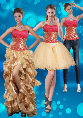 2015 Strapless Multi Color Detachable Prom Skirts with Beading and Embroidery