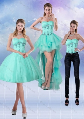 2015 Sweetheart Apple Green Detachable Prom Skirts with Appliques