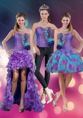 2015 Sweetheart Beading Multi Color Detachable Prom Skirts with Hand Made Flower