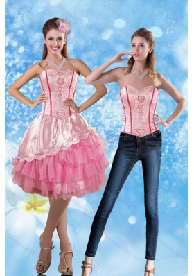 2015 Sweetheart Embroidery Detachable Prom Skirts in Rose Pink