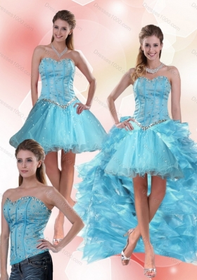 Aqua Blue Sweetheart High Low Detachable Prom Skirts with Ruffles and Beading