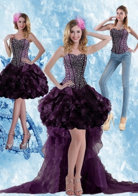 High Low Dark Purple Detachable Prom Skirts with Ruffled Layers and Beading